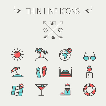 Travel thin line icon set for web and mobile. Set include-beach umbrella, slippers, map, sun, sunglasses, palm tree icons. Modern minimalistic flat design. Vector icon with dark grey outline and offset colour on light grey background. Ilustracja