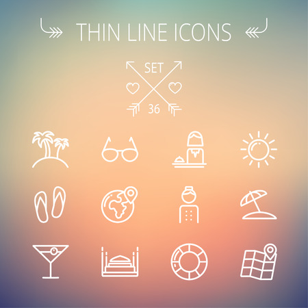 Travel thin line icon set for web and mobile. Set includes- beach umbrella, slippers, map, sun, sunglasses, palm tree  icons. Modern minimalistic flat design. Vector white icon on gradient mesh background.