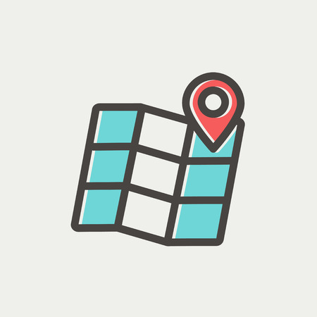 urban planning: Folded map with pin icon thin line for web and mobile, modern minimalistic flat design. Vector icon with dark grey outline and offset colour on light grey background.