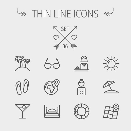 Travel thin line icon set for web and mobile. Set includes- beach umbrella, slippers, map, sun, sunglasses, palm tree icons. Modern minimalistic flat design. Vector dark grey icon on light grey background.
