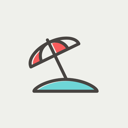 reclining: Beach umbrella icon thin line for web and mobile, modern minimalistic flat design. Vector icon with dark grey outline and offset colour on light grey background.