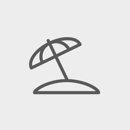 Beach umbrella icon thin line for web and mobile, modern minimalistic flat design. Vector dark grey icon on light grey background.