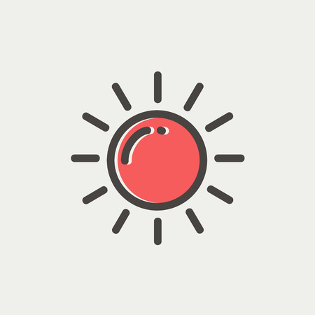 synopsis: Sun icon thin line for web and mobile, modern minimalistic flat design. Vector icon with dark grey outline and offset colour on light grey background.