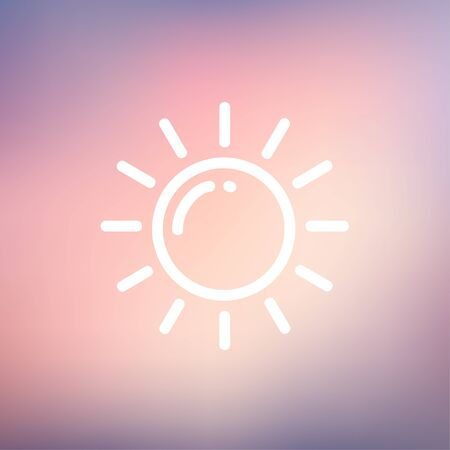 synopsis: Sun icon thin line for web and mobile, modern minimalistic flat design. Vector white icon on gradient mesh background.