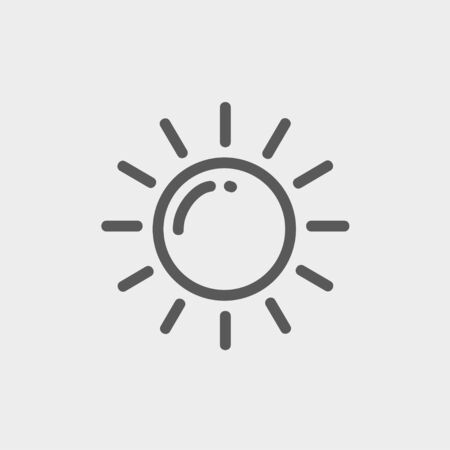 synopsis: Sun icon thin line for web and mobile, modern minimalistic flat design. Vector dark grey icon on light grey background.