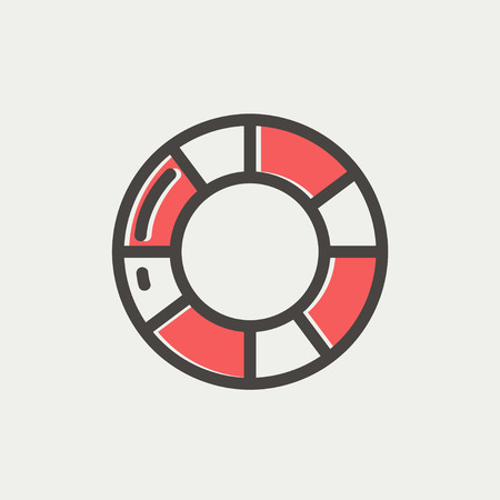 life belt: Life preserver icon thin line for web and mobile, modern minimalistic flat design. Vector icon with dark grey outline and offset colour on light grey background.