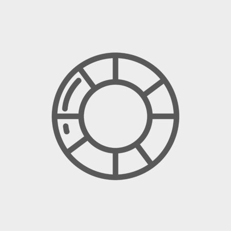 preserver: Life preserver icon thin line for web and mobile, modern minimalistic flat design. Vector dark grey icon on light grey background.