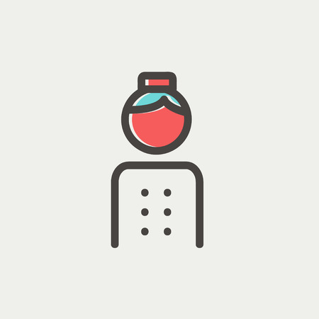 bellboy: Bellboy icon thin line for web and mobile, modern minimalistic flat design. Vector icon with dark grey outline and offset colour on light grey background.
