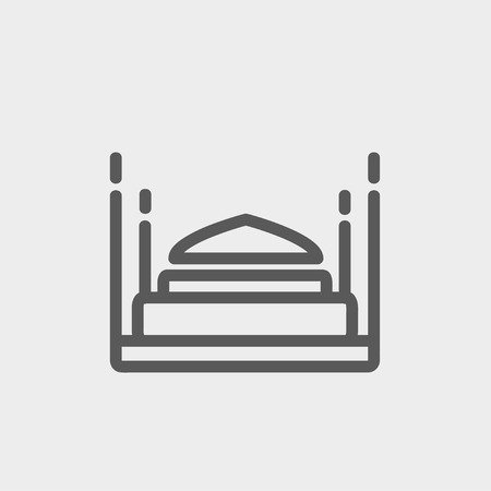 Bed icon thin line for web and mobile, modern minimalistic flat design. Vector dark grey icon on light grey background. Vector