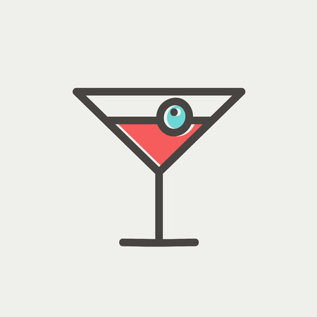 fruitage: Cocktail drink with cherry icon thin line for web and mobile, modern minimalistic flat design. Vector icon with dark grey outline and offset colour on light grey background.