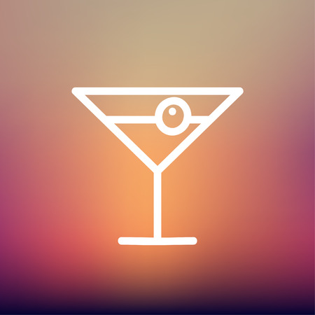 fruitage: Cocktail drink with cherry icon thin line for web and mobile, modern minimalistic flat design. Vector white icon on gradient mesh background. Illustration