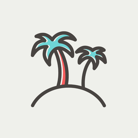 Two palm trees icon thin line for web and mobile, modern minimalistic flat design. Vector icon with dark grey outline and offset colour on light grey background. Illusztráció
