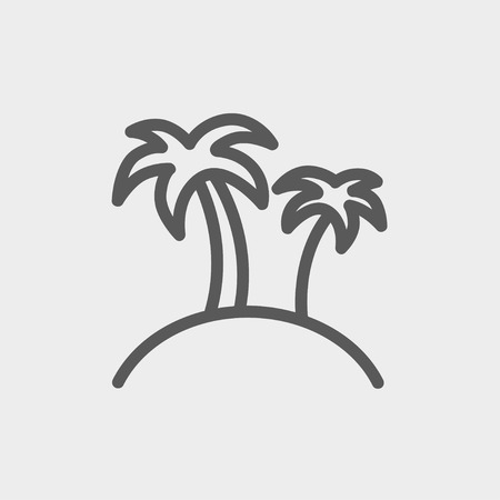 Two palm trees icon thin line for web and mobile, modern minimalistic flat design. Vector dark grey icon on light grey background.