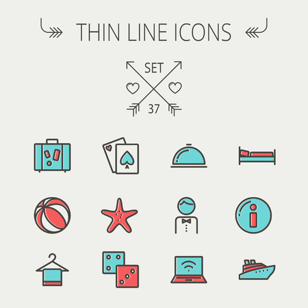 Travel thin line icon set for web and mobile. Set include-luggage, food cover, towel on a hanger, bed, waiter, beach ball, starfish, cruise ship  icons. Modern minimalistic flat design. Vector icon with dark grey outline and offset colour on light grey ba Illustration