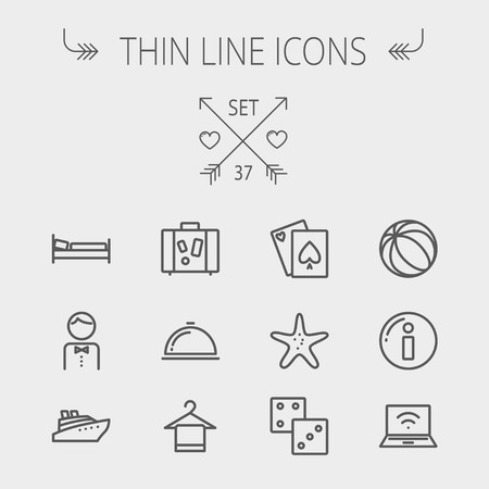Travel thin line icon set for web and mobile. Set includes- luggage, food cover, towel on a hanger, bed, waiter, beach ball, starfish, cruise ship icons. Modern minimalistic flat design. Vector dark grey icon on light grey background.