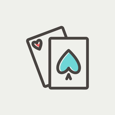 Playing cards icon thin line for web and mobile, modern minimalistic flat design. Vector icon with dark grey outline and offset colour on light grey background. Illustration