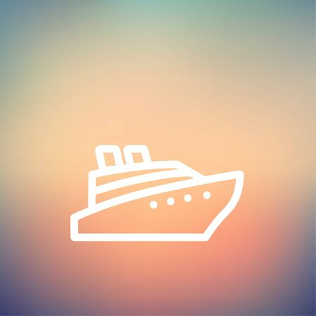 Cruise ship icon thin line for web and mobile, modern minimalistic flat design. Vector white icon on gradient mesh background.