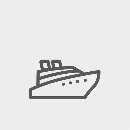 caribbean cruise: Cruise ship icon thin line for web and mobile, modern minimalistic flat design. Vector dark grey icon on light grey background. Illustration
