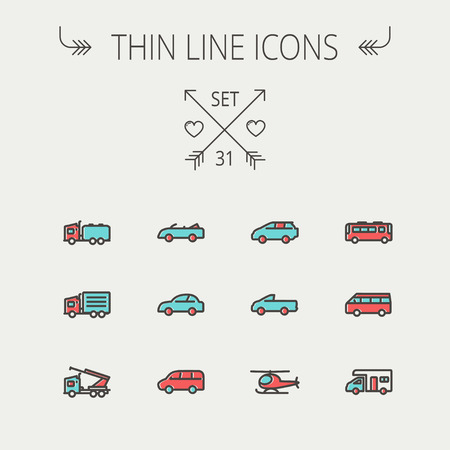 Transportation thin line icon set for web and mobile. Set include- bus, cars, van, helicopter, camper van icons. Modern minimalistic flat design. Vector icon with dark grey outline and offset colour on light grey background. Vector
