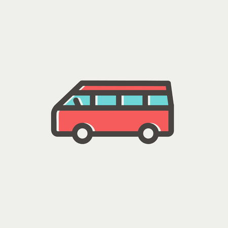 Minibus icon thin line for web and mobile, modern minimalistic flat design. Vector icon with dark grey outline and offset colour on light grey background. Illustration