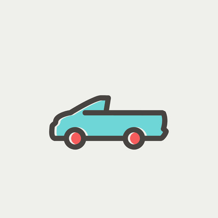 Pick-up truck icon thin line for web and mobile, modern minimalistic flat design. Vector icon with dark grey outline and offset colour on light grey background. Ilustração
