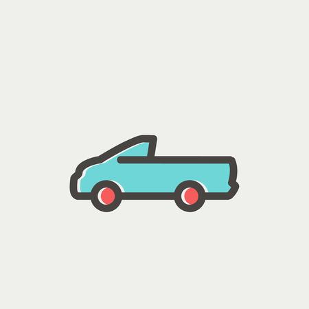 Web とモバイルでモダンなミニマルなフラット デザインのピックアップ トラック アイコン薄いライン。暗い灰色のアウトラインとライトグレーの背