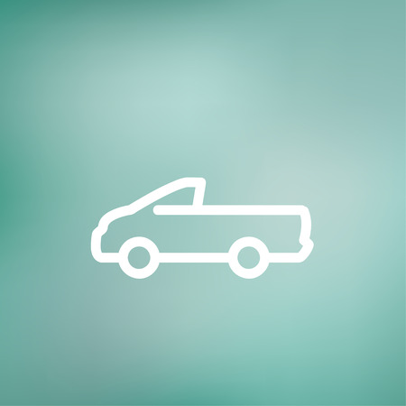 Pick-up truck icon thin line for web and mobile, modern minimalistic flat design. Vector white icon on gradient mesh background. Illusztráció