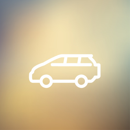 volkswagen: MInivan icon thin line for web and mobile, modern minimalistic flat design. Vector white icon on gradient mesh background.