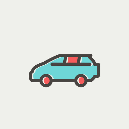 siluette: MInivan icon thin line for web and mobile, modern minimalistic flat design. Vector icon with dark grey outline and offset colour on light grey background. Illustration