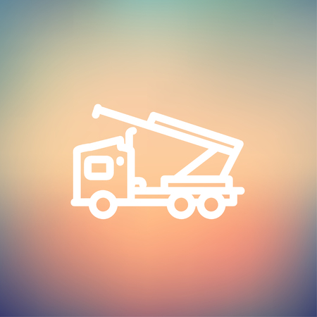 Towing truck icon thin line for web and mobile, modern minimalistic flat design. Vector white icon on gradient mesh background.