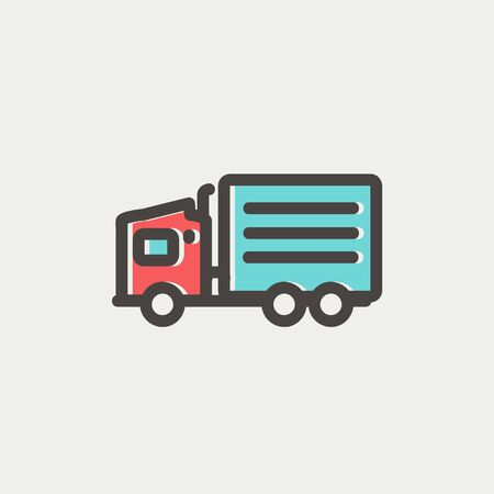 minimal: Delivery truck icon thin line for web and mobile, modern minimalistic flat design. Vector icon with dark grey outline and offset colour on light grey background.