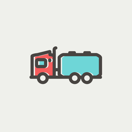 Tanker truck icon thin line for web and mobile, modern minimalistic flat design. Vector icon with dark grey outline and offset colour on light grey background.