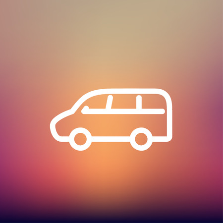 lading: Van transport icon thin line for web and mobile, modern minimalistic flat design. Vector white icon on gradient mesh background. Illustration