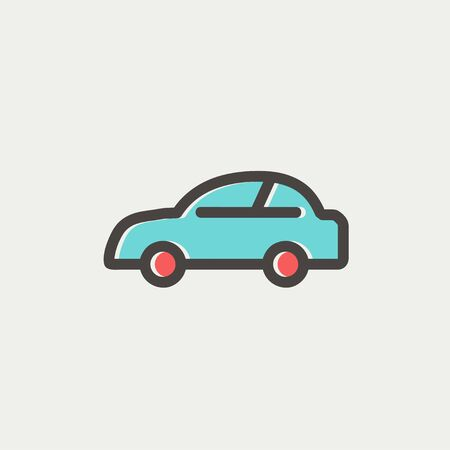 restyled: Car icon thin line for web and mobile, modern minimalistic flat design. Vector icon with dark grey outline and offset colour on light grey background.