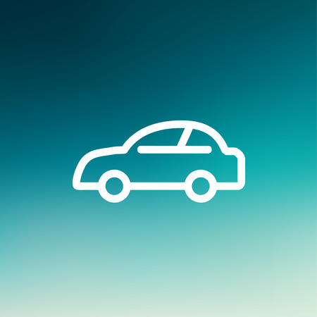 tuned: Car icon thin line for web and mobile, modern minimalistic flat design. Vector white icon on gradient mesh background.