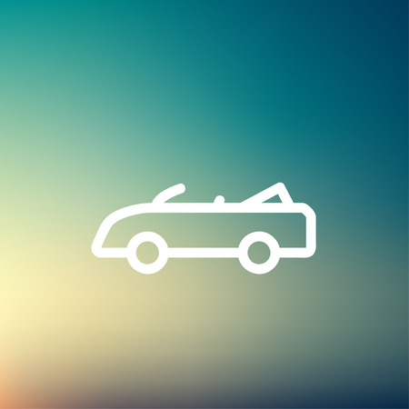 top down car: Convertible icon thin line for web and mobile, modern minimalistic flat design. Vector white icon on gradient mesh background.