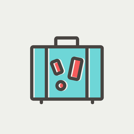Travel luggage icon thin line for web and mobile, modern minimalistic flat design. Vector icon with dark grey outline and offset colour on light grey background.