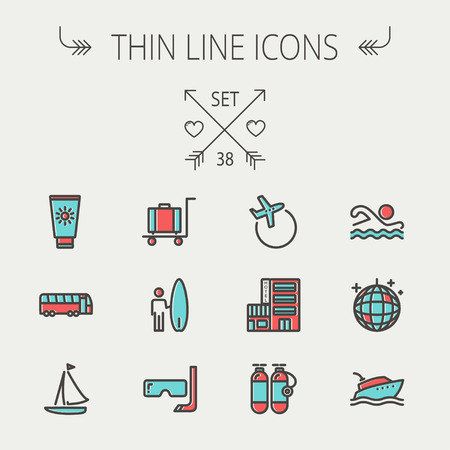 Travel thin line icon set for web and mobile. Set include- yacht, oxygen tank, snorkel with mask, luggage, hotel, sailboat, plane   icons. Modern minimalistic flat design. Vector icon with dark grey outline and offset colour on light grey background. Illustration
