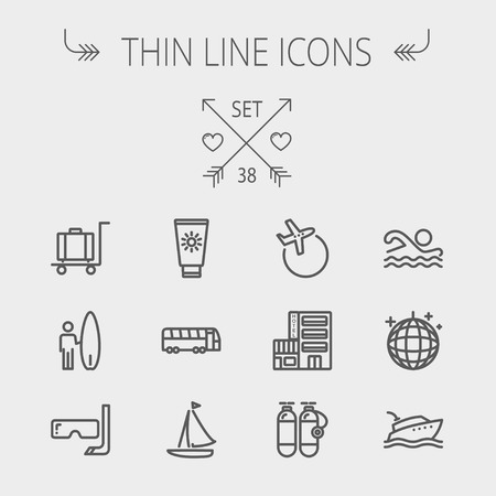 airplane icon: Travel thin line icon set for web and mobile. Set includes- yacht, oxygen tank, snorkel with mask, luggage, hotel, sailboat, plane icons. Modern minimalistic flat design. Vector dark grey icon on light grey background. Illustration