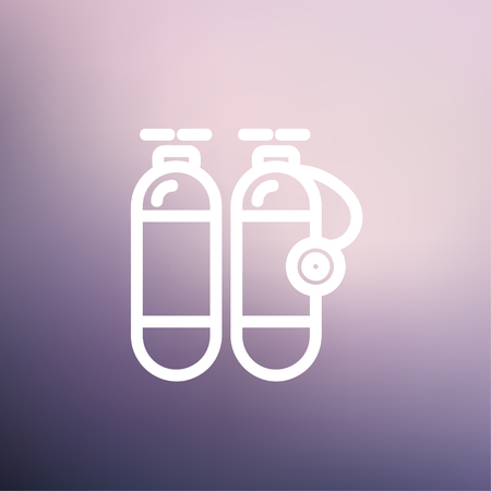 compressed air: Oxygen tank icon thin line for web and mobile, modern minimalistic flat design. Vector white icon on gradient mesh background. Illustration