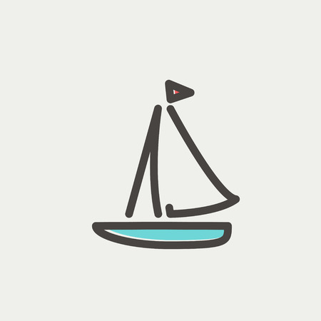 Sailboat icon thin line for web and mobile, modern minimalistic flat design. Vector icon with dark grey outline and offset colour on light grey background. 向量圖像
