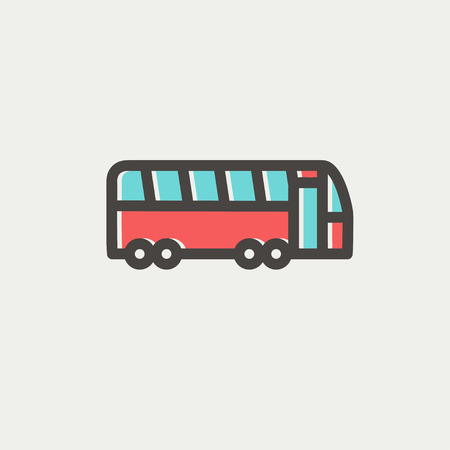 tourist bus: Tourist bus icon thin line for web and mobile, modern minimalistic flat design. Vector icon with dark grey outline and offset colour on light grey background.
