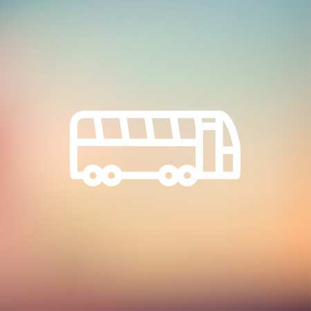 autobus: Tourist bus icon thin line for web and mobile, modern minimalistic flat design. Vector white icon on gradient mesh background.