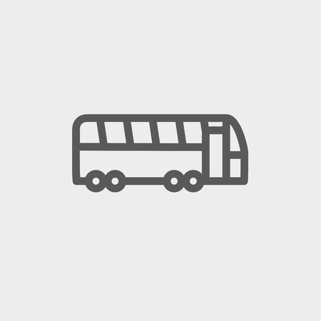 autobus: Tourist bus icon thin line for web and mobile, modern minimalistic flat design. Vector dark grey icon on light grey background. Illustration