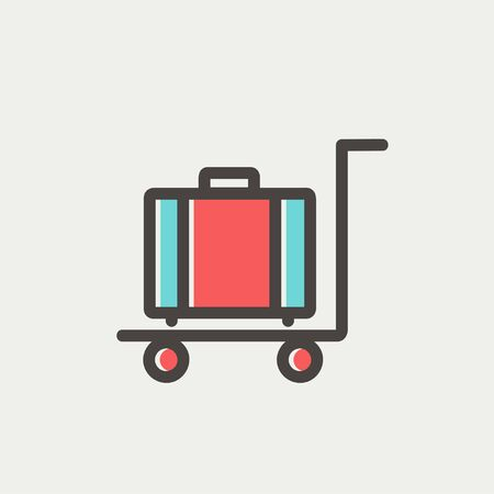 trolley case: Trolley luggage icon thin line for web and mobile, modern minimalistic flat design. Vector icon with dark grey outline and offset colour on light grey background.