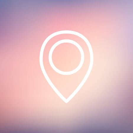rout: Map pointer icon thin line for web and mobile, modern minimalistic flat design. Vector white icon on gradient mesh background.