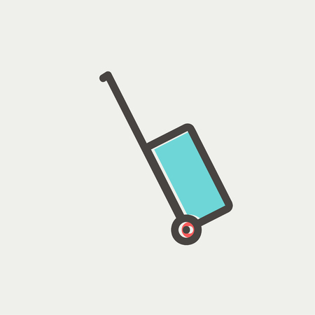 luggage carrier: Luggage carrier icon thin line for web and mobile, modern minimalistic flat design. Vector icon with dark grey outline and offset colour on light grey background. Illustration