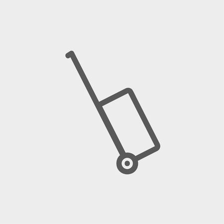 luggage carrier: Luggage carrier icon thin line for web and mobile, modern minimalistic flat design. Vector dark grey icon on light grey background. Illustration