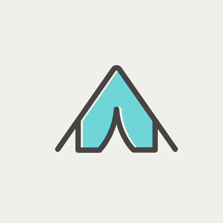 bivouac: Tent icon thin line for web and mobile, modern minimalistic flat design. Vector icon with dark grey outline and offset colour on light grey background.