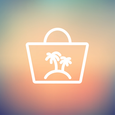 Summer bag icon thin line for web and mobile, modern minimalistic flat design. Vector white icon on gradient mesh background. Stock Illustratie